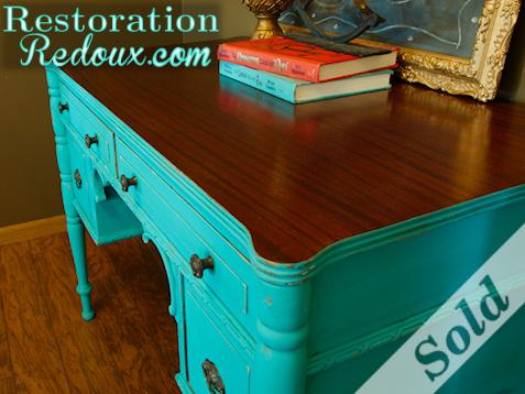 www.restorationredoux.com - Turquoise Desk - Sold