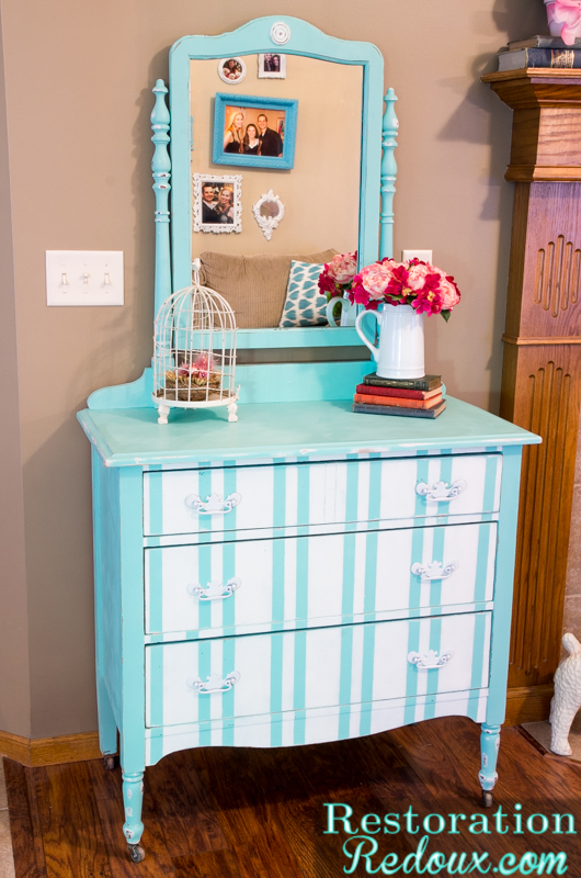 Aqua Striped Dresser and How the Easter Bunny Was Dead