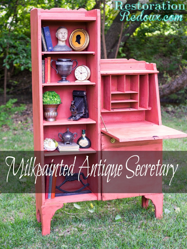 Red Milkpainted Antique Secretary (and a giveaway)
