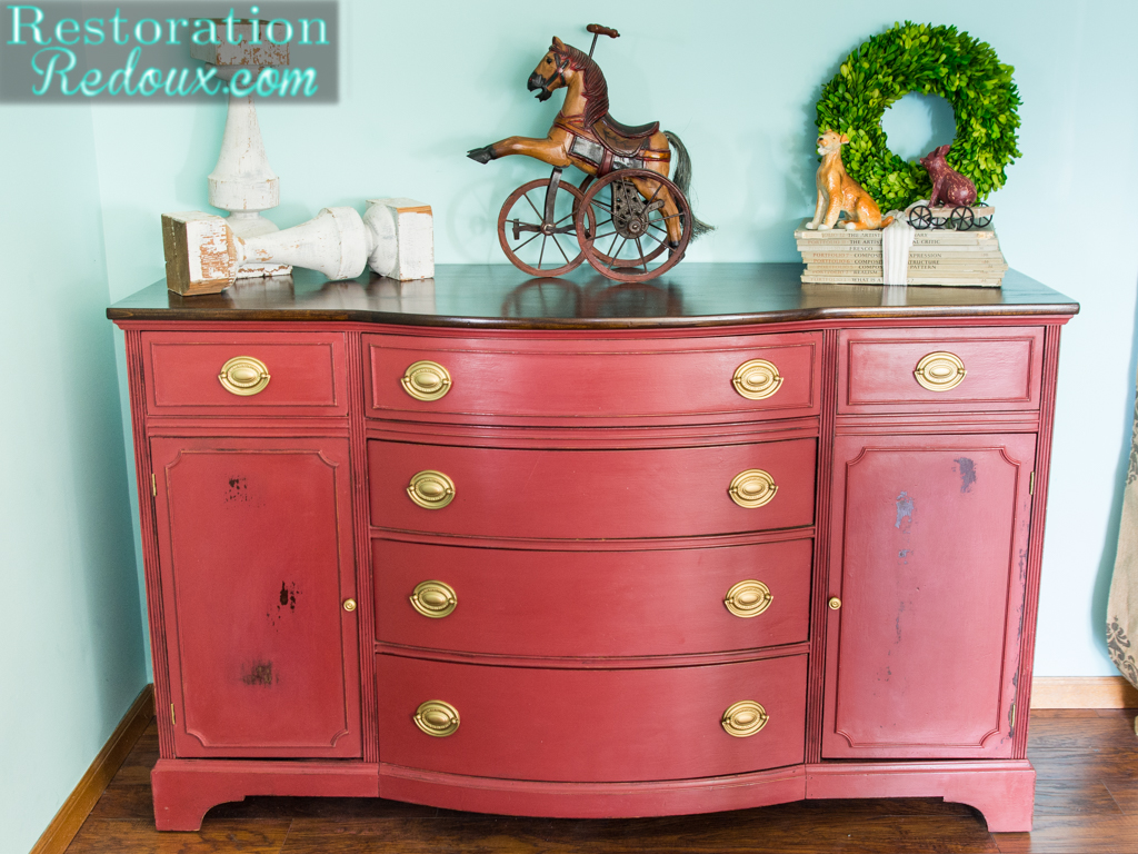 Red Plaster Painted Vintage Dresser Makeover