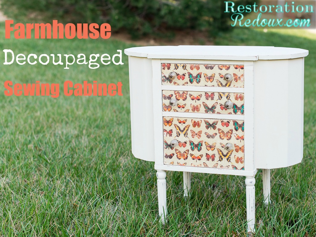 Farmhouse Decoupaged Sewing Cabinet
