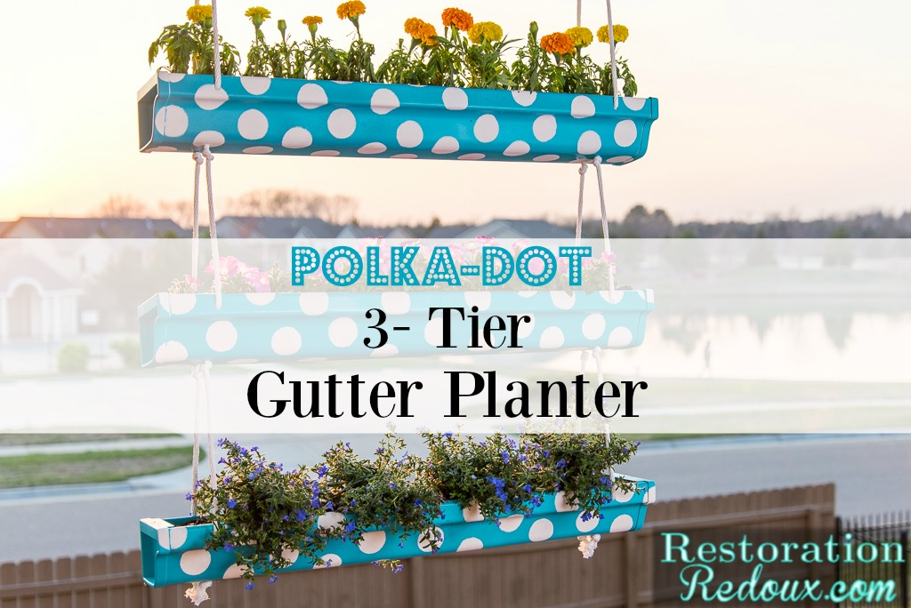 3-Tier Polka-Dot Hanging Gutter Planter