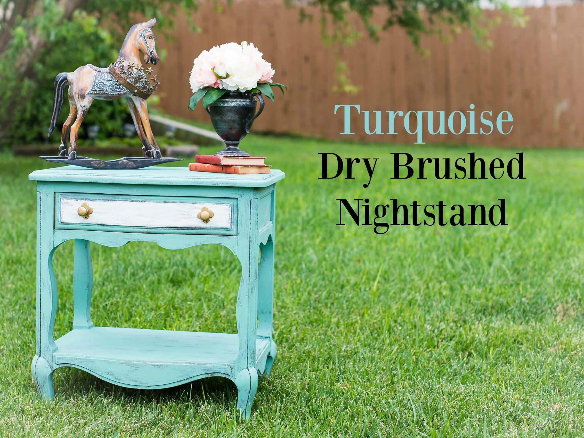Turquoise Dry Brushed Nightstand