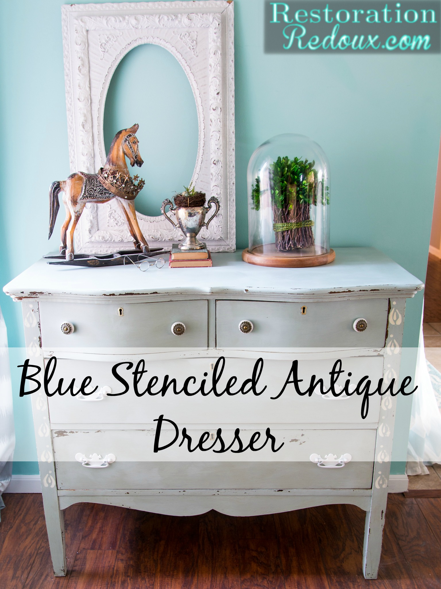 Blue Stenciled Antique Dresser