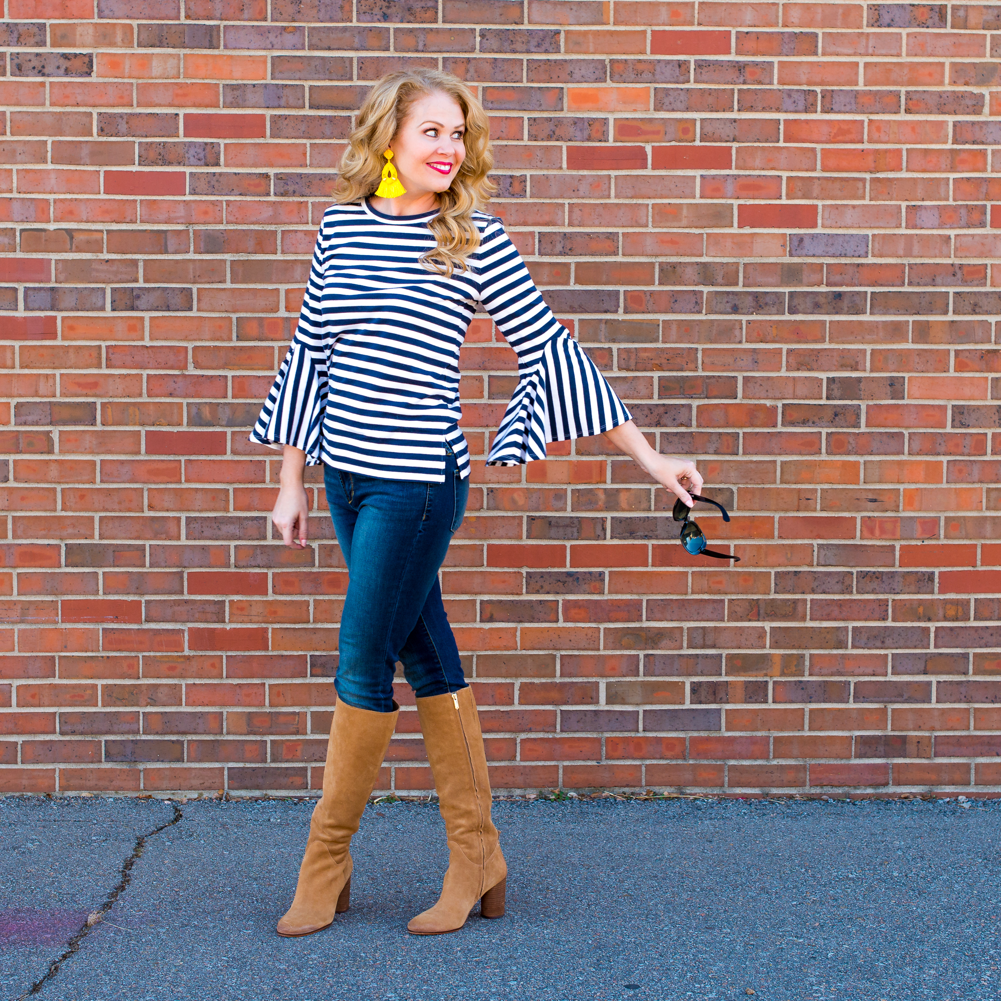 Loft nautical striped bell sleeved top