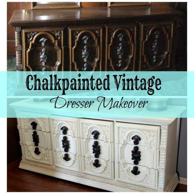 Ivory Chalkpainted Vintage Dresser Makeover