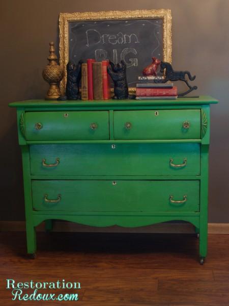 Green Antique Dresser Makeover