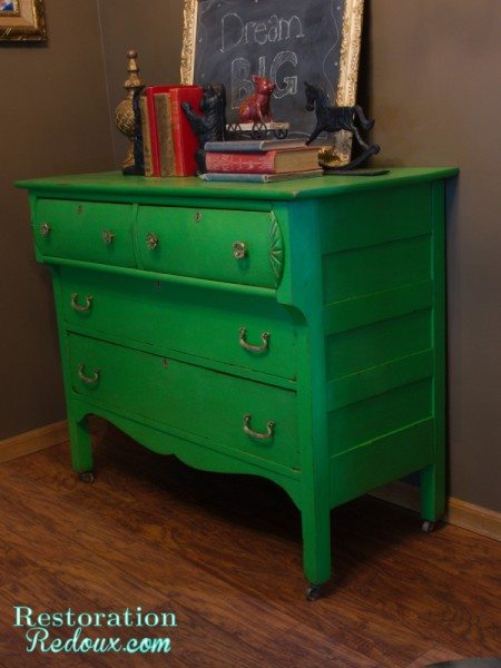 Green Antique Dresser Sideview