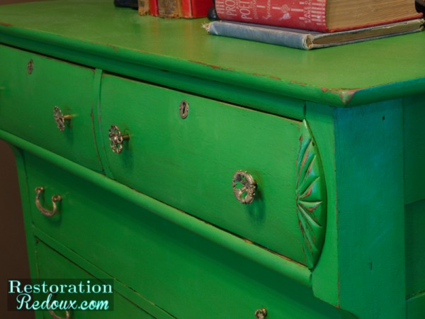 Green Antique Dresser Closeup