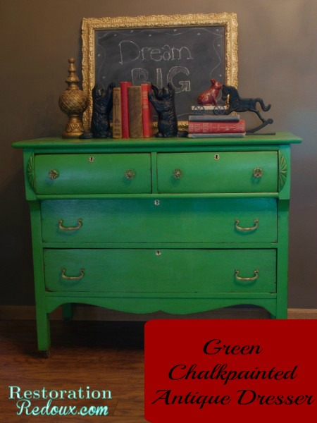 Chalkpainted-Green-Antique- Dresser
