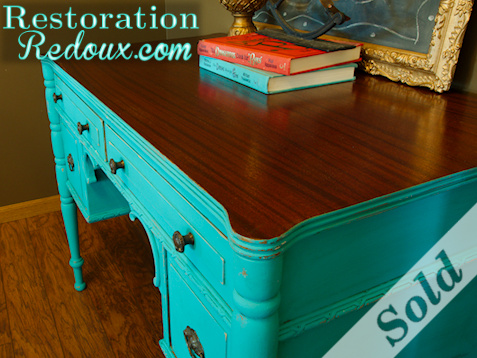 www.restorationredoux.com - Turquoise Desk - Sold