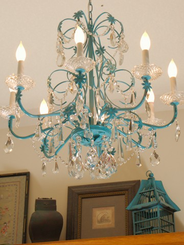 Turquoise Chandelier Makeover