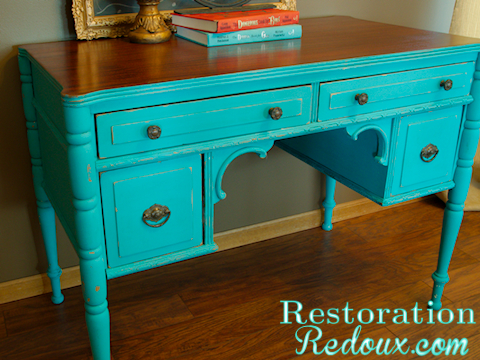 Chalkpainted Antique Turquoise Desk