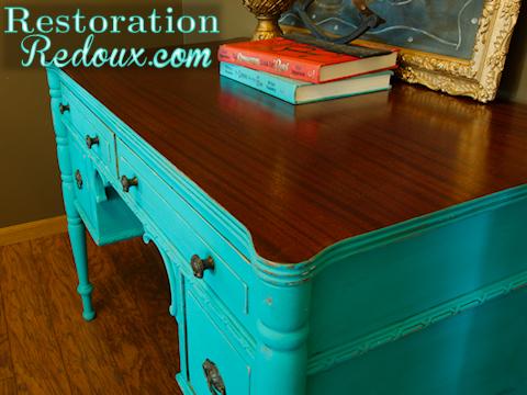 Chalpainted Turquoise Antique Desk