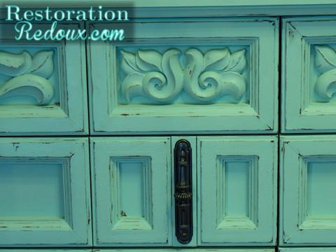 Distressed Aqua Vintage Dresser closeup 1