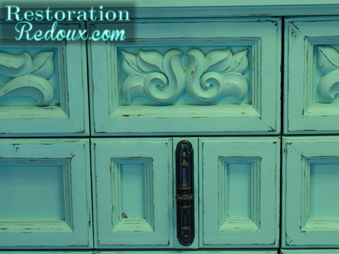 Distressed Aqua Vintage Dresser