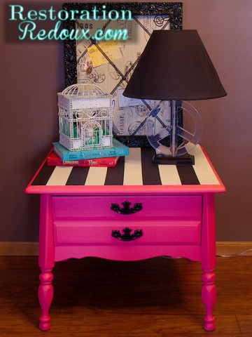 Pink Striped Chalkpainted Table