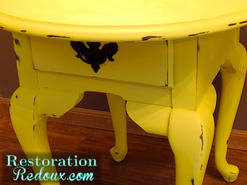 Yellow Chalkpainted Table