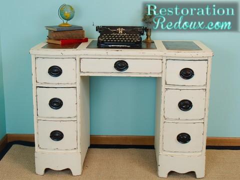 Ivory Chalkpainted Vintage Desk