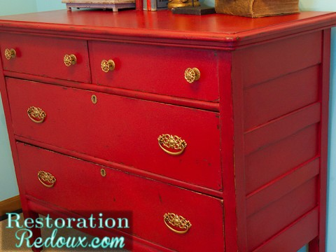 Red Chalkpainted Antique Dresser