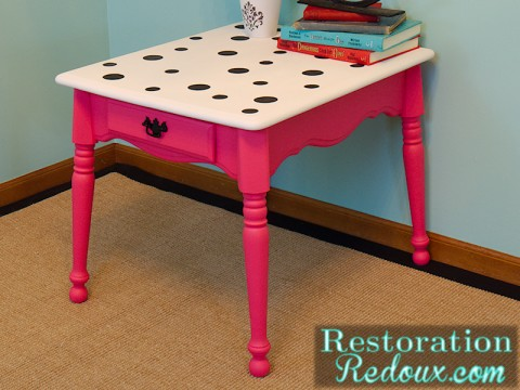 Pink Polka-Dot Chalkpainted Table