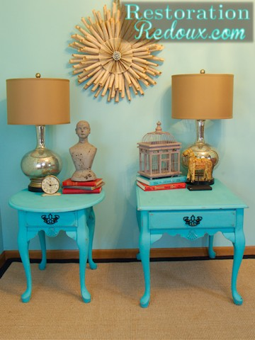 Turquoise Nightstand after