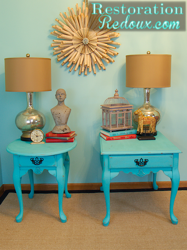 Turquoise Nightstand Makeover Times Two