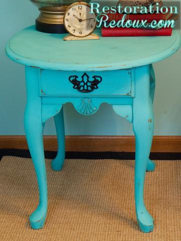 Turquoise Nightstand round