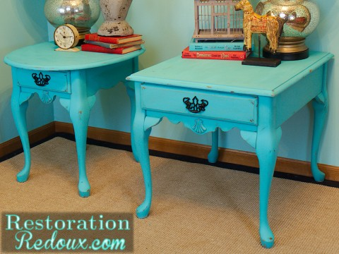Turquoise Nightstand after side