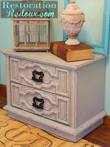 little grey nightstand after left side