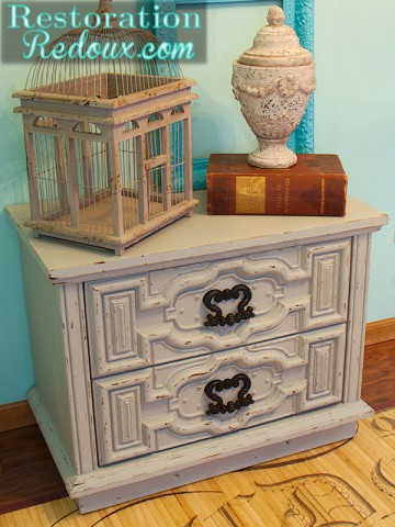 little grey nightstand right side after