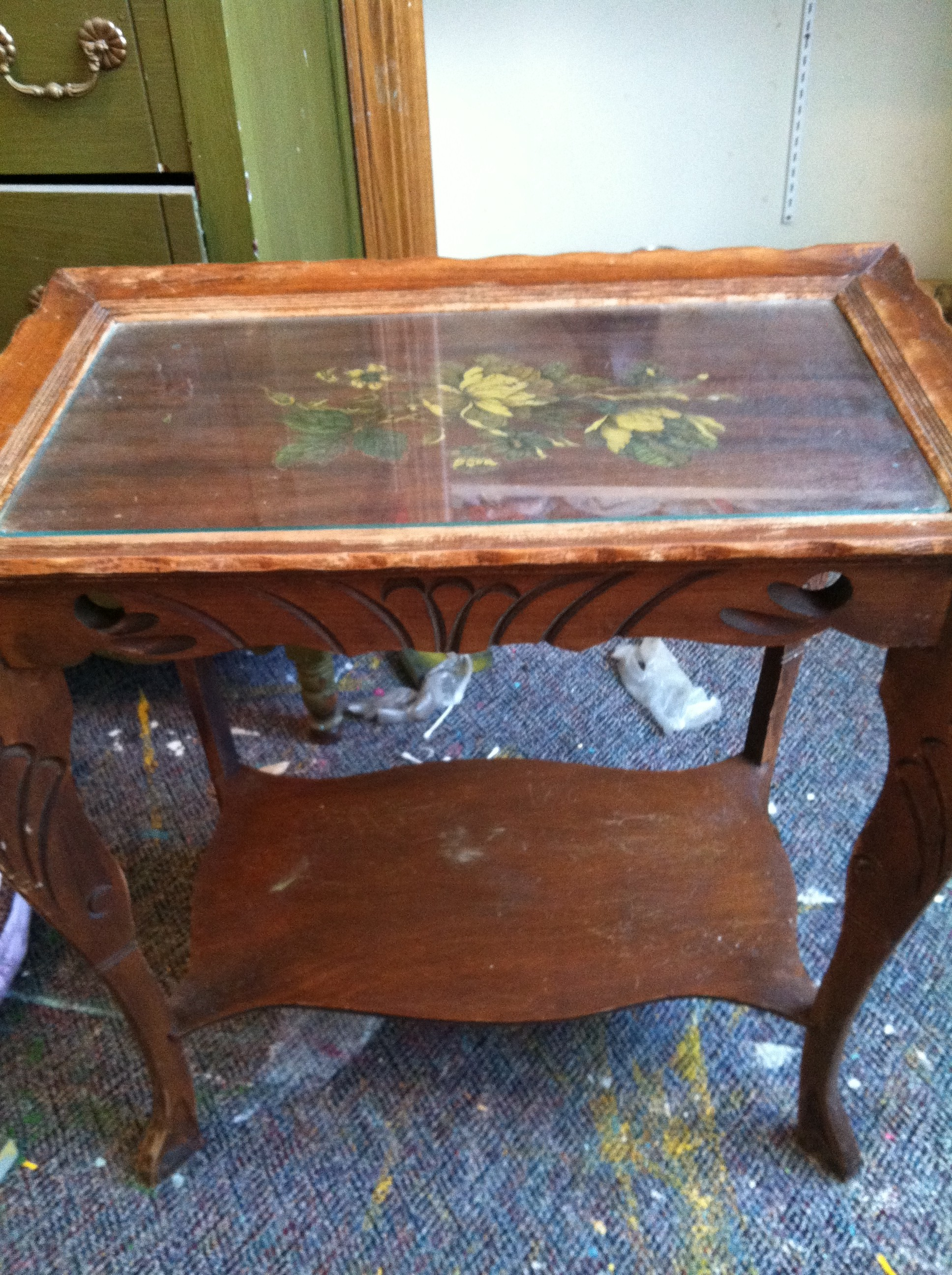 Antique Yellow Table before