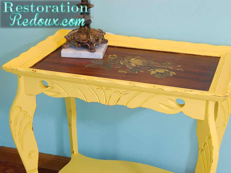 Antique Yellow Table close up top