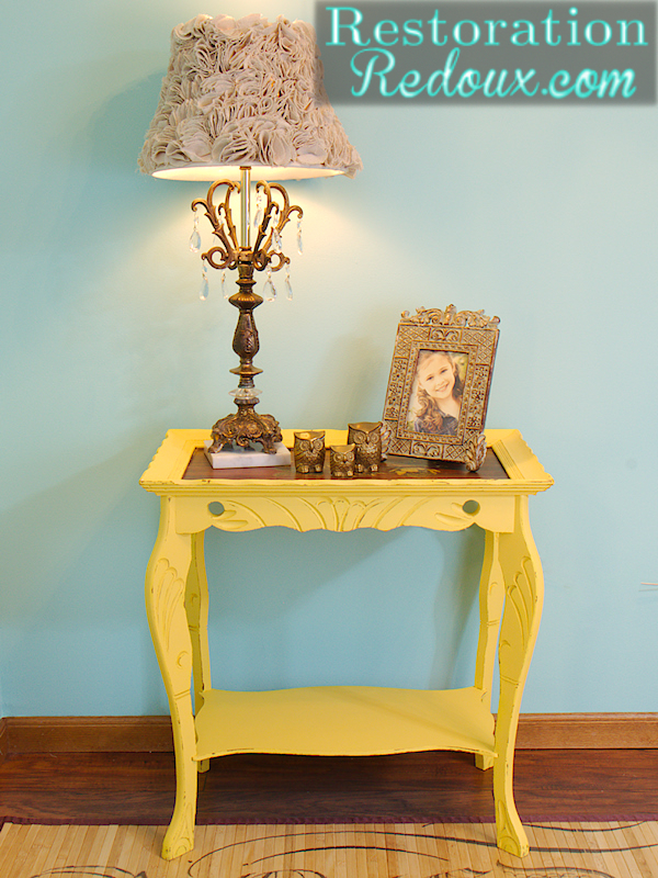 Antique Yellow Table After