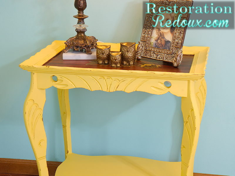 Antique Yellow Table close up