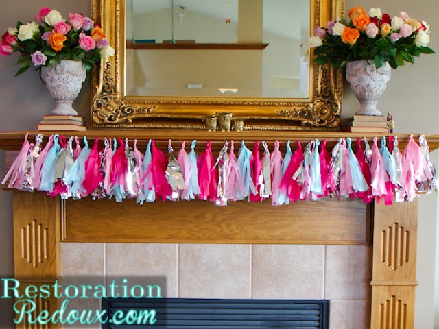 Tissue paper bunting mantle