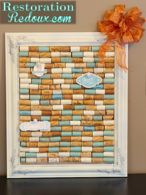 Diy wine cork bulletin board for Diy cork board