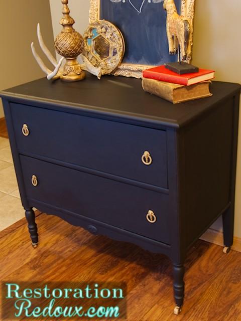 Black Chalkpainted Antique Dresser