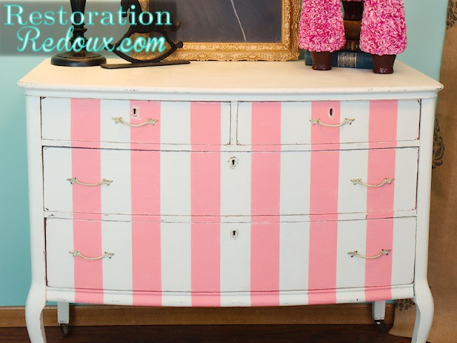 White and Pink Striped Dresser