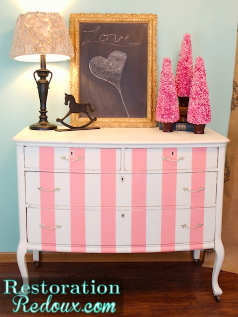 Pink and White Striped Dresser