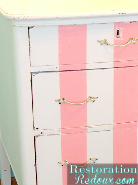 Antique Pink and white striped Dresser