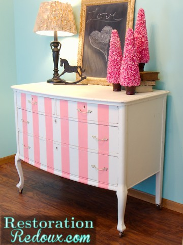 Pink Striped Antique Dresser (and how I might die)