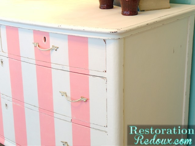 Pink and white Striped Antique Dresser