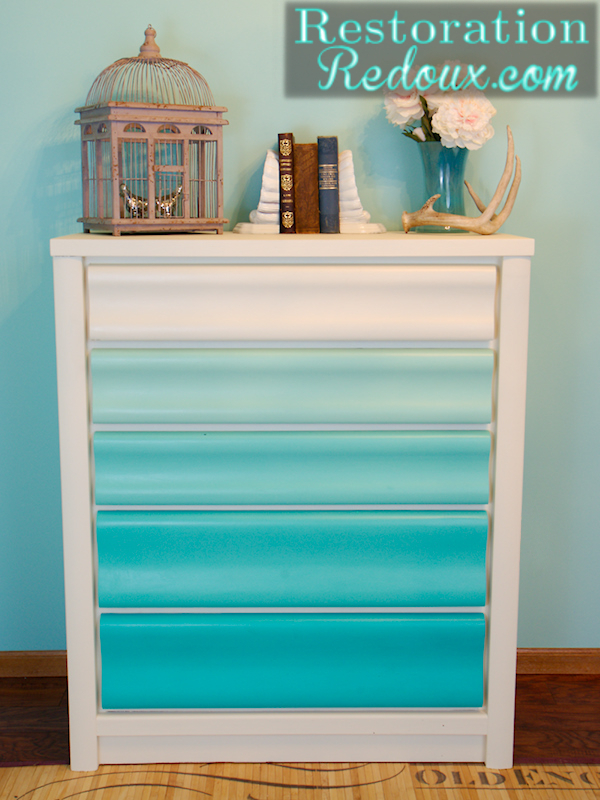 Turquoise Ombre Painted Dresser Restoration Redoux