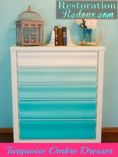 Turquoise Ombre Chalkpainted Dresser
