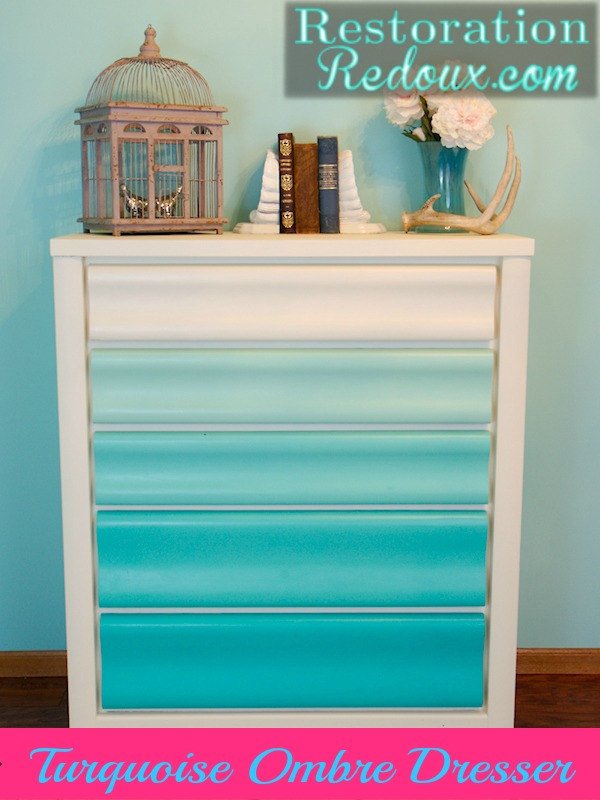 Wonderful Turquoise Ombre Chalkpainted Dresser. Turquoise Ombre Painted Dresser
