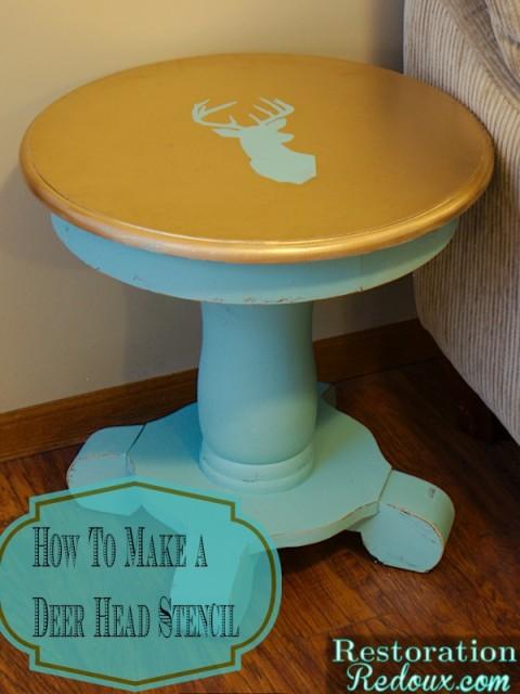 Deer Head Stenciled Side Table