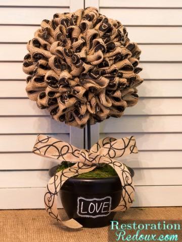 Black Burlap Topiary