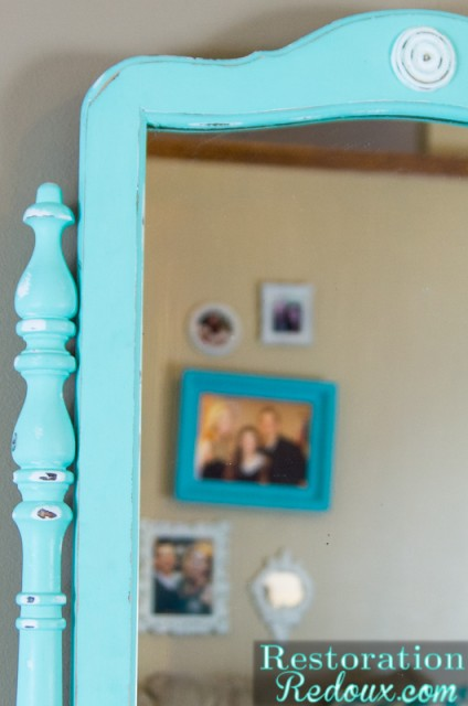 Aqua Chalkpainted Striped Dresser