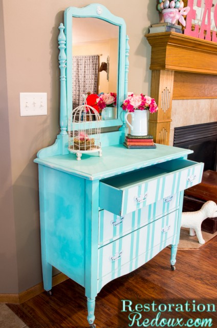 Turquoise-Striped-Dresser-RestorationRedoux